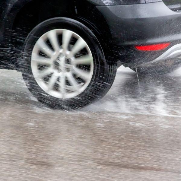 tyre in the rain