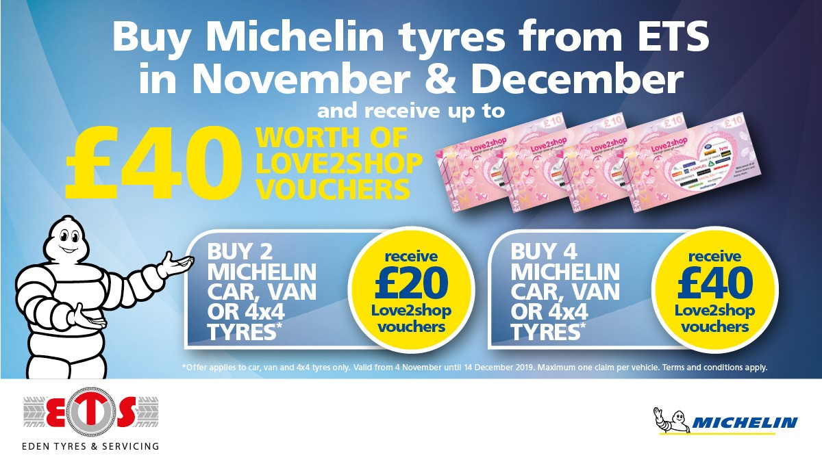 Receive up to £40 worth of Love2Shop vouchers with Michelin