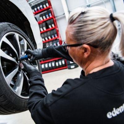 Tyre fitting in Eden Tyres workshop