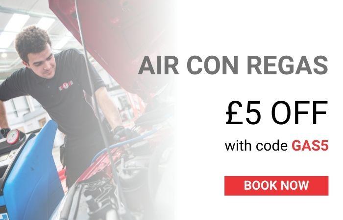 Save £5 on AC regas banner mobile