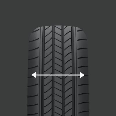 arrow showing width of tyre