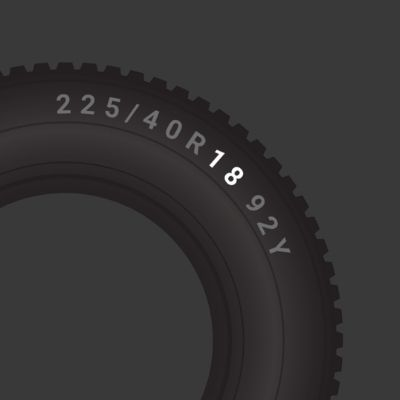 Tyre wheel or rim size in inches
