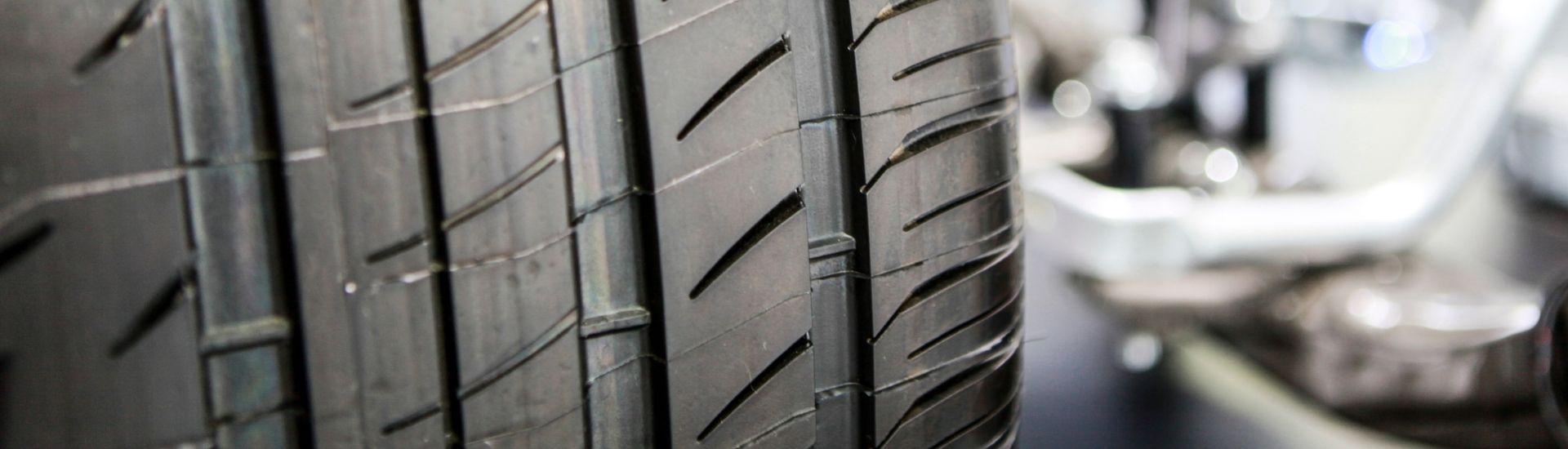 tyre showing tread wear indicators